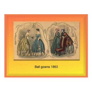 織物、ファッション、夜会服1863年 ポストカード