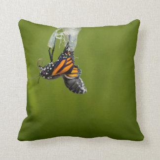 繭の枕から現れているマダラチョウ クッション