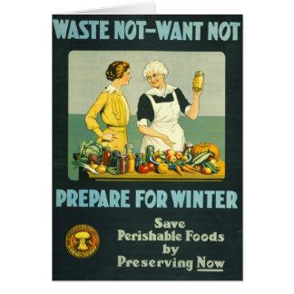 缶詰になる食糧1914年 カード