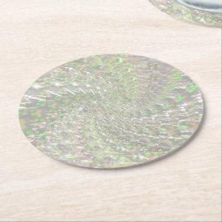 罅割れたガラス渦巻のデザイン-オパール ラウンドペーパーコースター