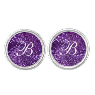 罅割れたガラス渦巻のデザイン-紫色のアメジスト カフスボタン