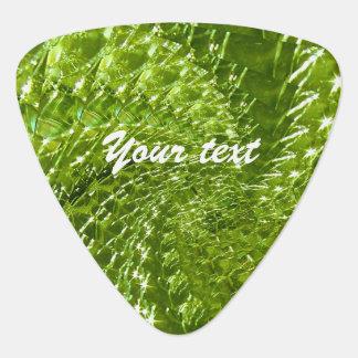 罅割れたガラス渦巻のデザイン-緑のペリドット ギターピック