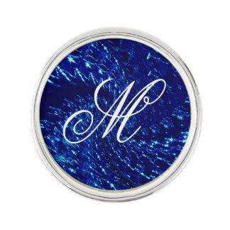罅割れたガラス渦巻のデザイン-青いサファイア ラペルピン