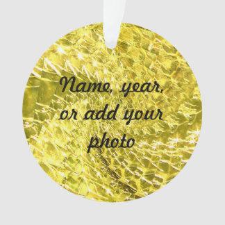 罅割れたガラス渦巻のデザイン-黄色いレモン色 オーナメント