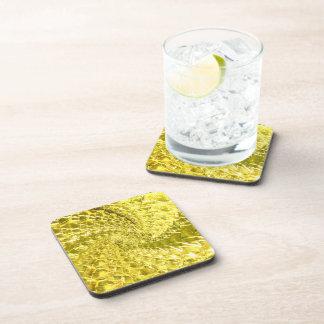 罅割れたガラス渦巻のデザイン-黄色いレモン色 コースター