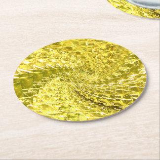 罅割れたガラス渦巻のデザイン-黄色いレモン色 ラウンドペーパーコースター