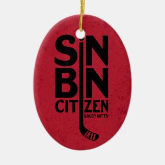 罪の大箱の市民のホッケー セラミックオーナメント