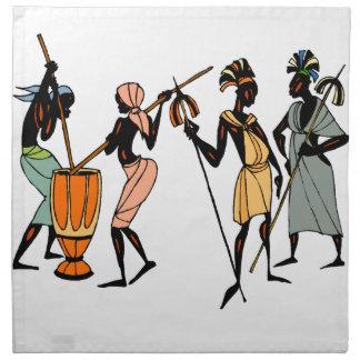 置かれるアフリカの種族の天然デザインのナプキン ナプキンクロス
