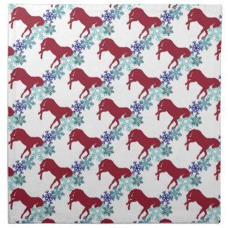 置かれる雪片および馬衣のナプキン ナプキンクロス