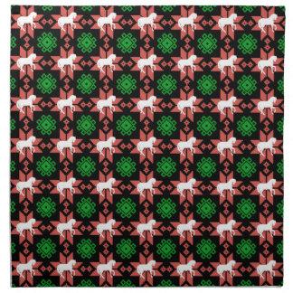 置かれる馬のクリスマスの布のナプキン ナプキンクロス