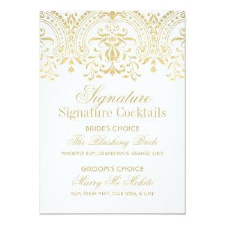 署名のカクテルの印|の金ゴールドのヴィンテージの魅力 12.7 X 17.8 インビテーションカード