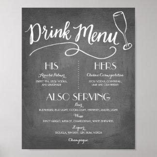 署名の飲み物メニュー|結婚の装飾 ポスター