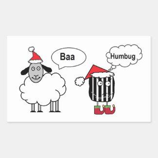 羊の鳴き声のばかばかしくおもしろいなお祝いの光沢のあるステッカー 長方形シール