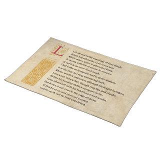 羊皮紙のシェークスピアのソネット116 (CXVI) ランチョンマット