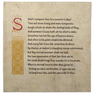 羊皮紙のシェークスピアのソネット18 (XVIII) ナプキンクロス