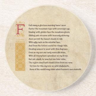 羊皮紙のシェークスピアのソネット33 (XXXIII) コースター