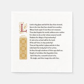 羊皮紙のシェークスピアのソネット3 (iii) スタンダードカクテルナプキン