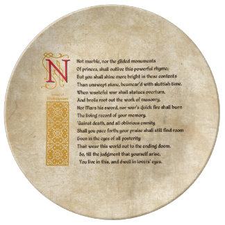 羊皮紙のシェークスピアのソネット55 (LV) 磁器プレート