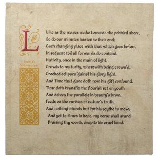 羊皮紙のシェークスピアのソネット60 (LX) ナプキンクロス