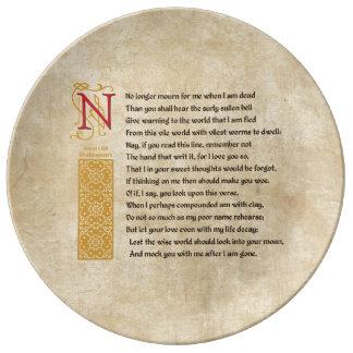 羊皮紙のシェークスピアのソネット71 (LXXI) 磁器プレート