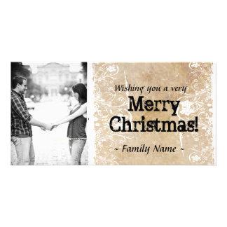 羊皮紙の写真のクリスマスカード カード