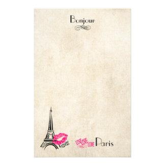 羊皮紙の質のエッフェル塔との愛パリ 便箋