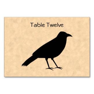 羊皮紙パターンの黒いカラスの鳥 カード