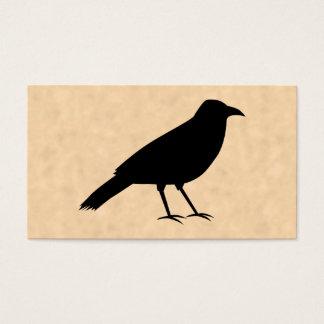 羊皮紙パターンの黒いカラスの鳥 名刺