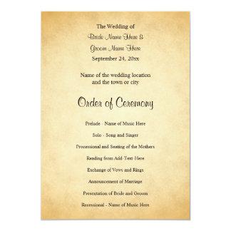 羊皮紙パターンデザインの結婚式プログラム カード