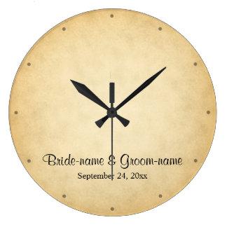 羊皮紙パターンデザインの結婚式 ラージ壁時計