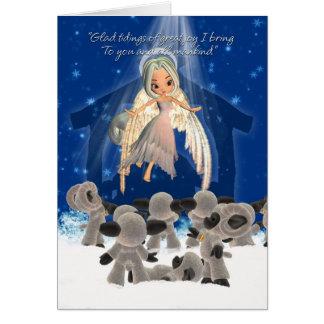 羊飼いが彼らの群を見る間、クリスマスカード カード