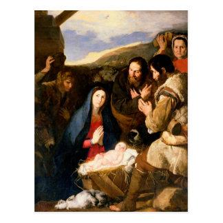 羊飼いの崇敬、1650年 ポストカード