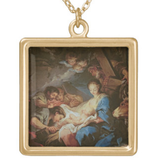 羊飼い(キャンバスの油)の崇敬2 ゴールドプレートネックレス