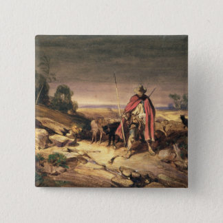 羊飼い(ペン及び茶色インク、w/c及びのリターン 5.1cm 正方形バッジ