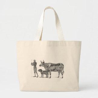 羊飼い-骨組ウシおよびヤギ ラージトートバッグ