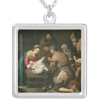 羊飼い、c.1650の崇敬 シルバープレートネックレス
