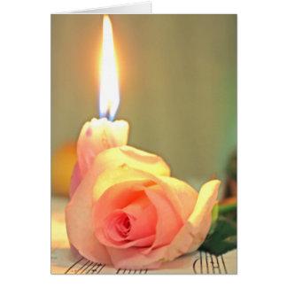 美しいのトリートメントピンクのばら色および蝋燭 カード