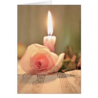 美しいのトリートメントピンクのばら色および蝋燭 グリーティングカード