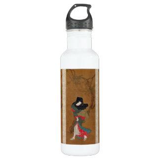 美しいの夏の微風のTorii Kiyonagaの芸者スクロール ウォーターボトル