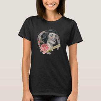 美しいの大広間の女性のロゴのTシャツの黒 Tシャツ