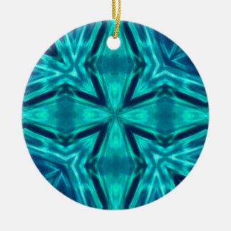 美しいアクアマリンのティール(緑がかった色)の青い十字の抽象芸術 セラミックオーナメント