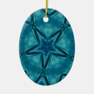 美しいアクアマリンの星形のマンデラパターン セラミックオーナメント