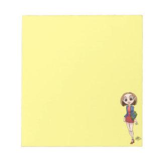 美しいアジア女性の漫画の絵 ノートパッド