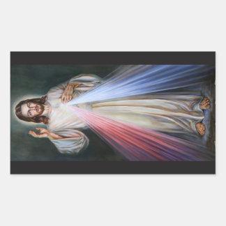 美しいイエス・キリストステッカー 長方形シール