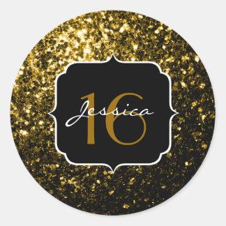 美しいイエロー・ゴールドの輝きの菓子16 ラウンドシール