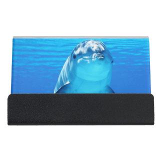 美しいイルカの水中海洋生物 デスク名刺ホルダー
