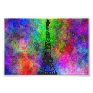 美しいエッフェル塔の多彩な布の背部効果 フォトプリント