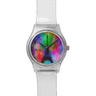 美しいエッフェル塔の多彩な布の背部効果 腕時計