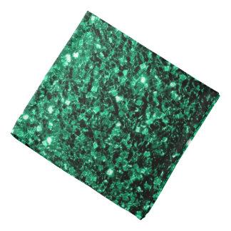美しいエメラルドグリーンのグリッターの輝き バンダナ