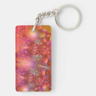 美しいオレンジおよびピンクの泡フラクタル キーホルダー